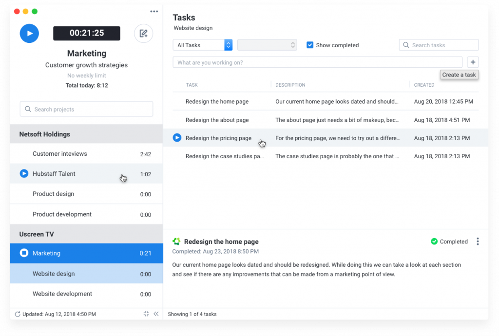 Manage time with Hubstaff